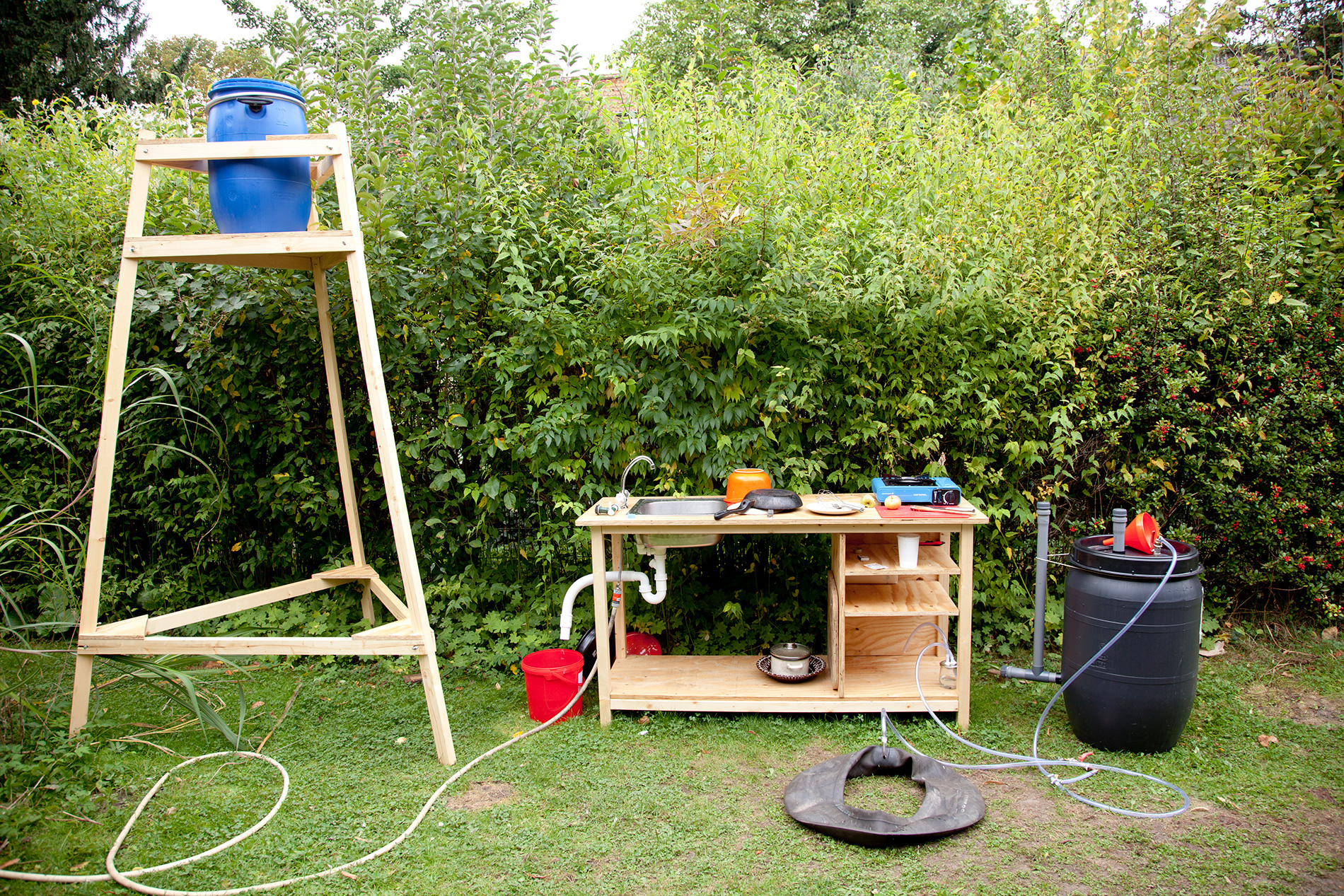 Kitchen unit-rainwater collector and biogas digester