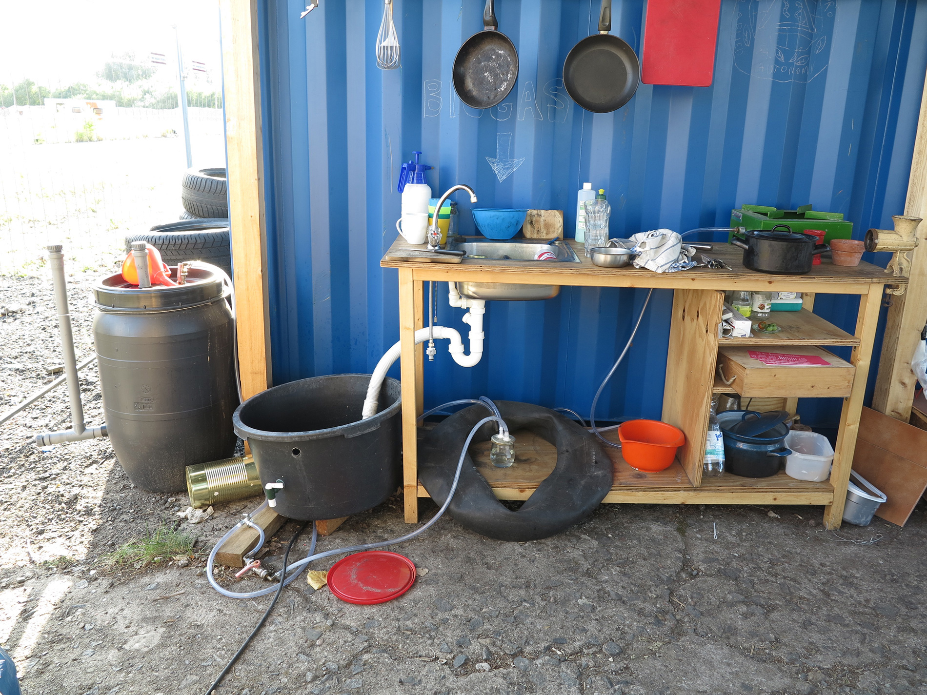 Kitchen: waste water and biogas digester